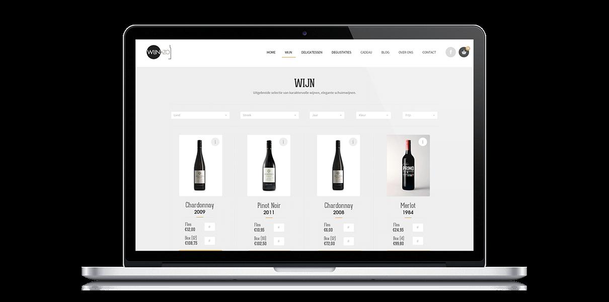 Webshop Wijnenzo - Webdesign Weblounge Bruges